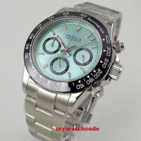 39mm PARNIS blue dial sapphire cermaic bezel full Chronograph quartz mens watch