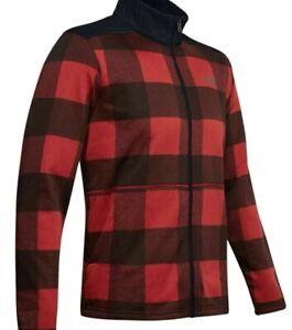 New Under Armour Field Fleece Full Zip Jacket Storm Red Gray Plaid Men's 2XL $95
