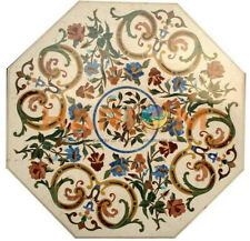 2.5' Marble Top Coffee Table Multi Floral Marquetry Inlay Guest Room Decors W386