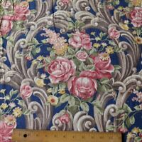 Vintage c1940 Roses In Scroll Frame Layout Linen Fabric Double Panel~Navy Indigo