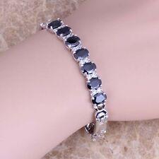 Black Sapphire White Topaz Silver Link Chain Bracelet 7 inch For Women S0519