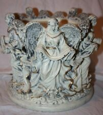 Resin Angel Peace Grace Love Noel Joy Christmas Candle Holder Poinsettia Pedstal
