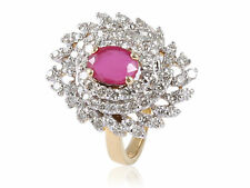2.61 Cts Round Brilliant Cut Diamonds Ruby Cocktail Ring In Fine 14K Yellow Gold