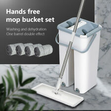 Squeeze Mop And Bucket Set Hand Free Flat Floor Self Cleaning Microfiber Pads 7