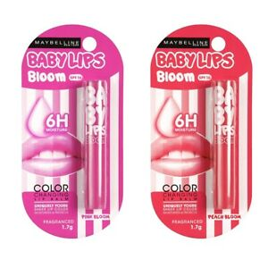 Maybelline Baby Lips Color Changing Lip Balm, Peach Bloom , Pink Bloom, 1.7g