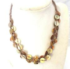 "Disks on Brown Cord Lobster Clasp 16"" Choker Necklace Small Natural Brown"