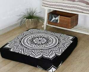 Large Black & White Ombre Mandala Square Floor Pillow Case Cushion Cover Dog Bed