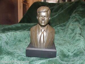 "John F Kennedy JFK Bust / Statue : NEW IN BOX  6"" High / BRONZE"