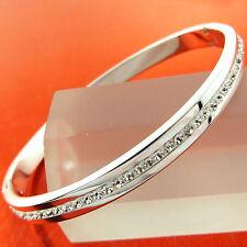 BANGLE BRACELET GENUINE REAL 18K WHITE G/F GOLD SOLID DIAMOND SIMULATED DESIGN