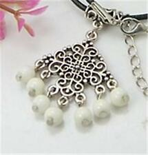 TIBETAN SILVER PENDANT WITH GLASS BEADS ATTACHED AND BAIL - 31mm..........P300 *