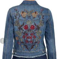 Nine West Embroidered Blue Jean Jacket NWT Interstate Sandy - Medium - Cute!!