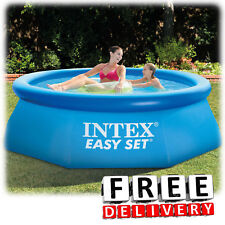 """Inflatable Swimming Pool 8'x30"""" Lounge Adult Kid Family Round Above Ground"""