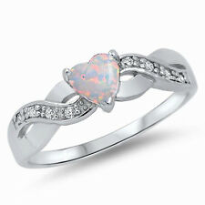 USA Seller Heart Ring Sterling Silver 925 Best Deal Jewelry White Opal Size 4