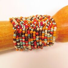 Wide Orange Red Multi Strand Handmade Cleo Stretch Seed Bead Cuff Bracelet