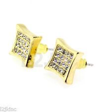 MENS Gold Clear CRYSTAL ICED OUT HIP HOP PAVE KITE STUD EARRING BLING