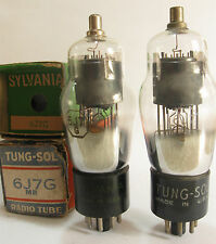 2 matched +/-1950 Tung-Sol/Sylvania 'Black Plate' 6J7G tubes - New In Boxes