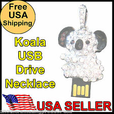 Koala Bear USB Memory Stick Thumb Drive Silver Metal Chrystal Jewelry Necklace