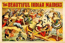 VINTAGE BURLESQUE SHOW THE BEAUTIFUL INDIAN MAIDENS FINE ART POSTER PRINT