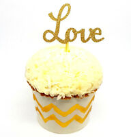12 Gold Glitter LOVE Cupcake Toppers/Picks | Engagement and Wedding Decorations