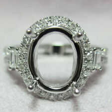 9x11mm Oval Cut Solid 14Kt White Gold Natural Diamond setting Semi Mount Ring