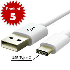 Lot of 5 USB-C Type-C 3.1 Connector Data Sync Charger Charging Cable Cord White