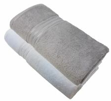 2 X LUXURY STRIPED HOTEL QUALITY EGYPTIAN COTTON WHITE SILVER HAND TOWEL 600GSM