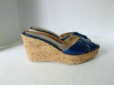Mossimo Parry Women US 7.5 Medium Blue Man Made Patent Cork Wedge Slip On Sandal