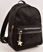 TOMMY HILFIGER Small Monogram Fabric Backpack, Black
