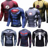 Mens Superman 3D Print T Shirts Compression Spandex Workout Cosplay Tees Dri-fit