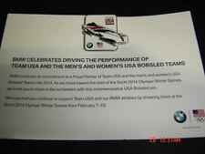 2014 Sochi Olympic Pin Card > TEAM USA - 2 Man Bobsled - RARE BMW VERSION