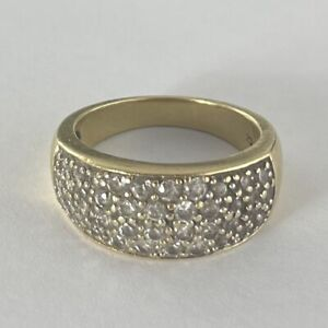 9ct Gold Cz Band Ring Size M 5.6g