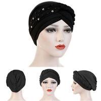 Ladies Women Beads Turban Hat Muslim Cancer Chemo Hair Cap Hijab Head Scarf G6A