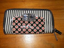 XOXO Black & White Striped Wallet with Checkbook Holder~2 Top Open Zip Sections~