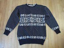Canary Island Collection VTG Navy White Cotton Snowflake Ski Sweater Men's M N10