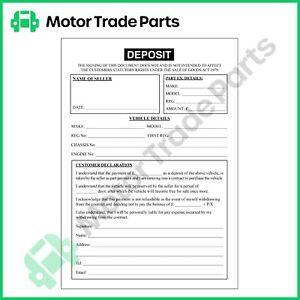 Used Car Vehicle Sales Deposit/Invoice Pad A5 professional