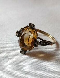 10kt Gold Ring With Citrine And Diamonds