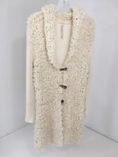 OUI MOMENTS WOMEN'S TOGGLE FRONT WOOL BLEND CARDIGAN SWEATER CREAM US SZ 12