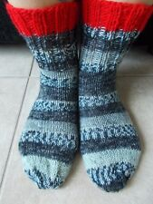 Hand knitted wool blend socks, gradient gray tones with red trim