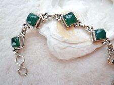 Silber Armkette Handarbeit Achat Grün Echt 18 - 20 cm Armband Raute Eckig
