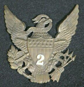 U.S. Army M1881 Pith Helmet 2nd Infantry Regiment Front Plate Emblem Device VF+