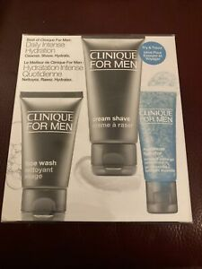 CLINIQUE FOR MEN DAILY INTENSE HYDRATION SET : Face Wash, Cream Shave, Hydrator