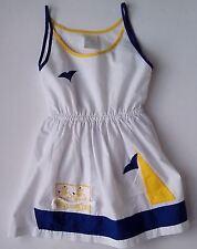White Sleeveless Cotton Mix Dress Blue and Yellow trim,Nautical theme  1980s Vin