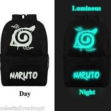 Anime Naruto Uzumaki Leaf Cosplay Luminous Backpack Canvas Rucksack School Bag