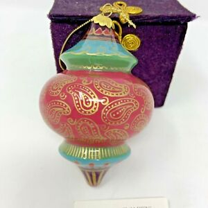 Pier 1 2002 Li Bien Glass Christmas Ornament Hand Painted in Original Box Pink