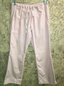 BLACK STAR pink medical dental nurse vet scrub pants S flared elastic drawstring