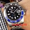 Batman PARNIS 40mm GMT Automatic men's watch black dial luminous sapphire glass