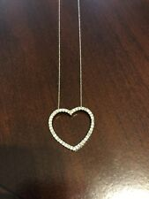 1/4 Ct Diamond Open Heart Necklace 14k White Gold