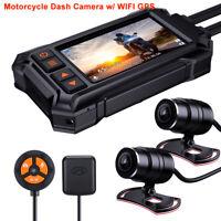BlueSkySea Motorcycle Dash Cam A12 GPS WIFI Waterproof Front+Rear 1080P G-Sensor