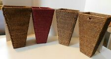 "New Listing4-Tall woven wicker Basket Decor Brown ,red 12"" tall x 6"" square top"