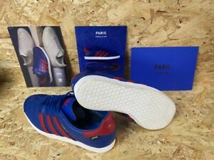 adidas Paris Gazelle GTX Trainers Blue and Red Leather Boxed with Cards Size 8